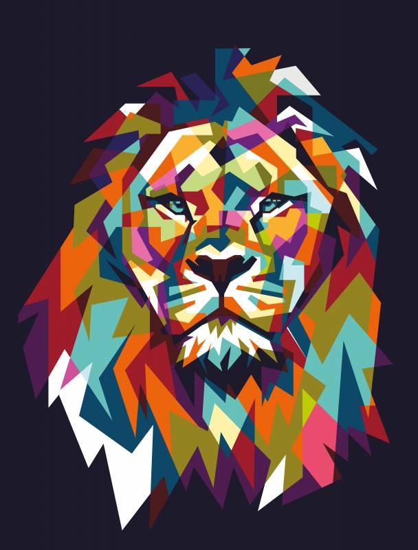 Színes oroszlán poly